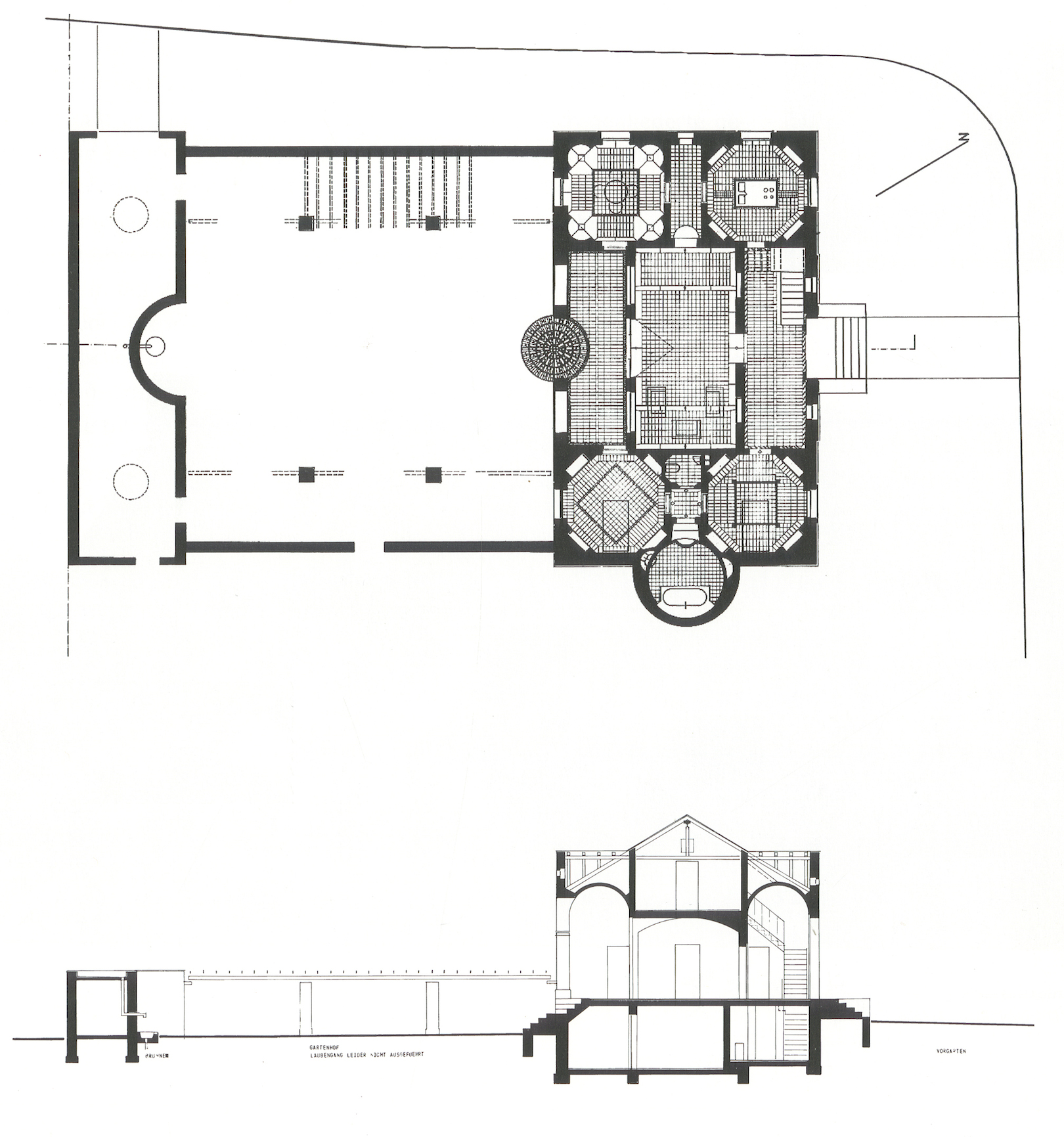 The Floor Plan And Cross Section Of The Project As It Was Finally Executed.