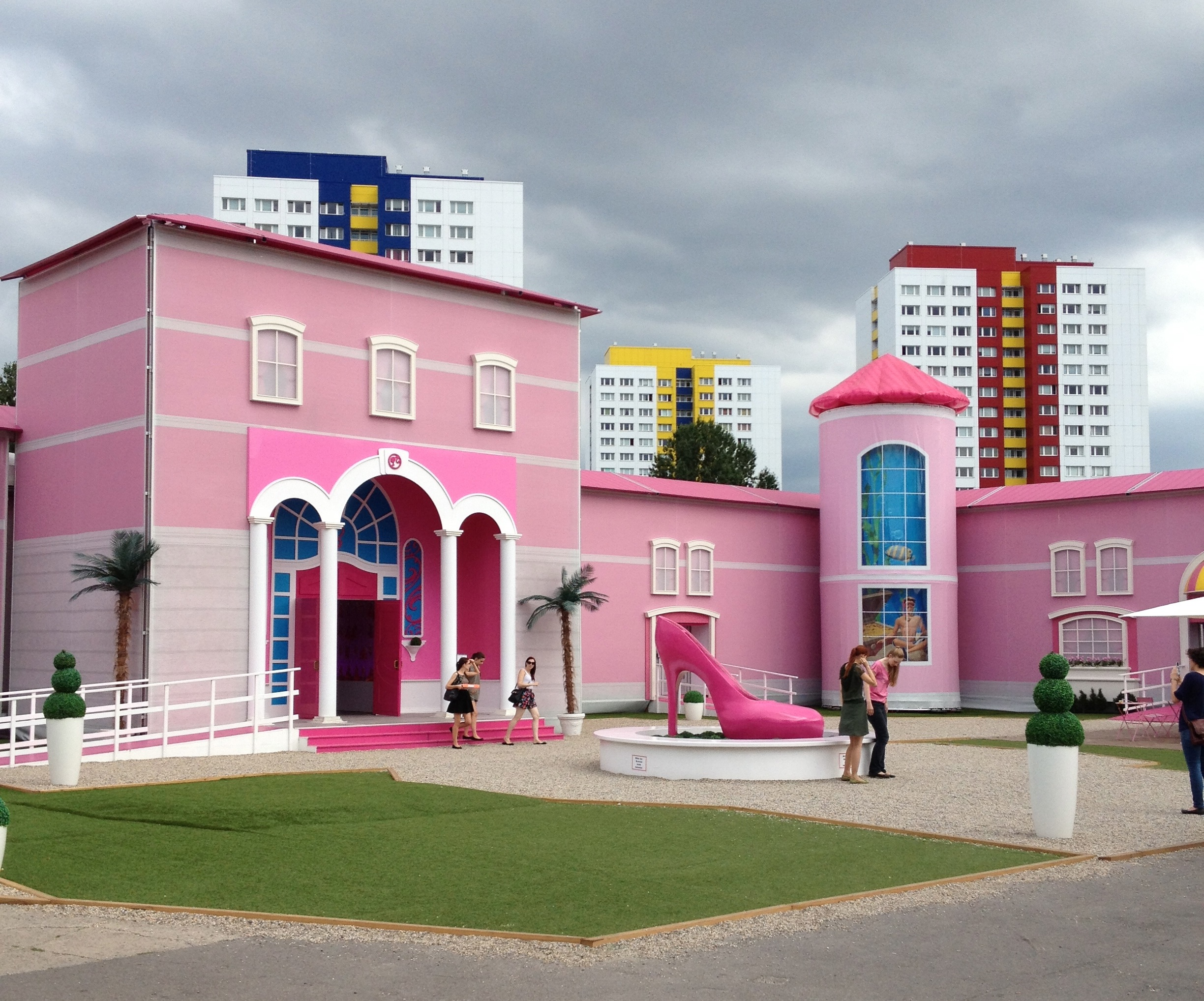 The Barbie Dreamhouse Has Been Installed In Berlin, Amid Protests And  Plattenbau. (Photo