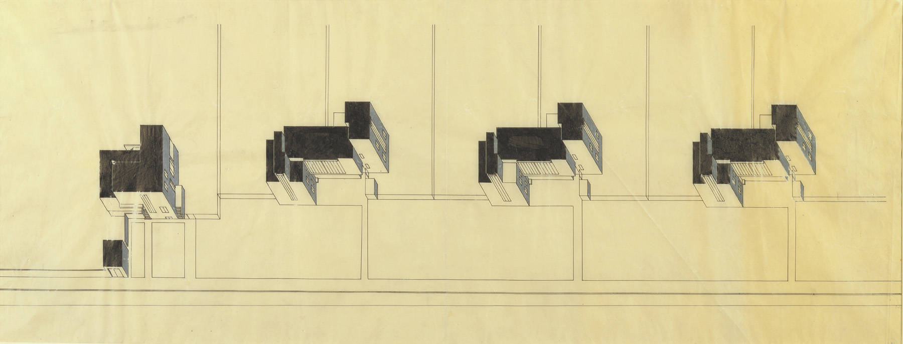 Gropius' isometric design drawing of the Masters' Houses. House ...