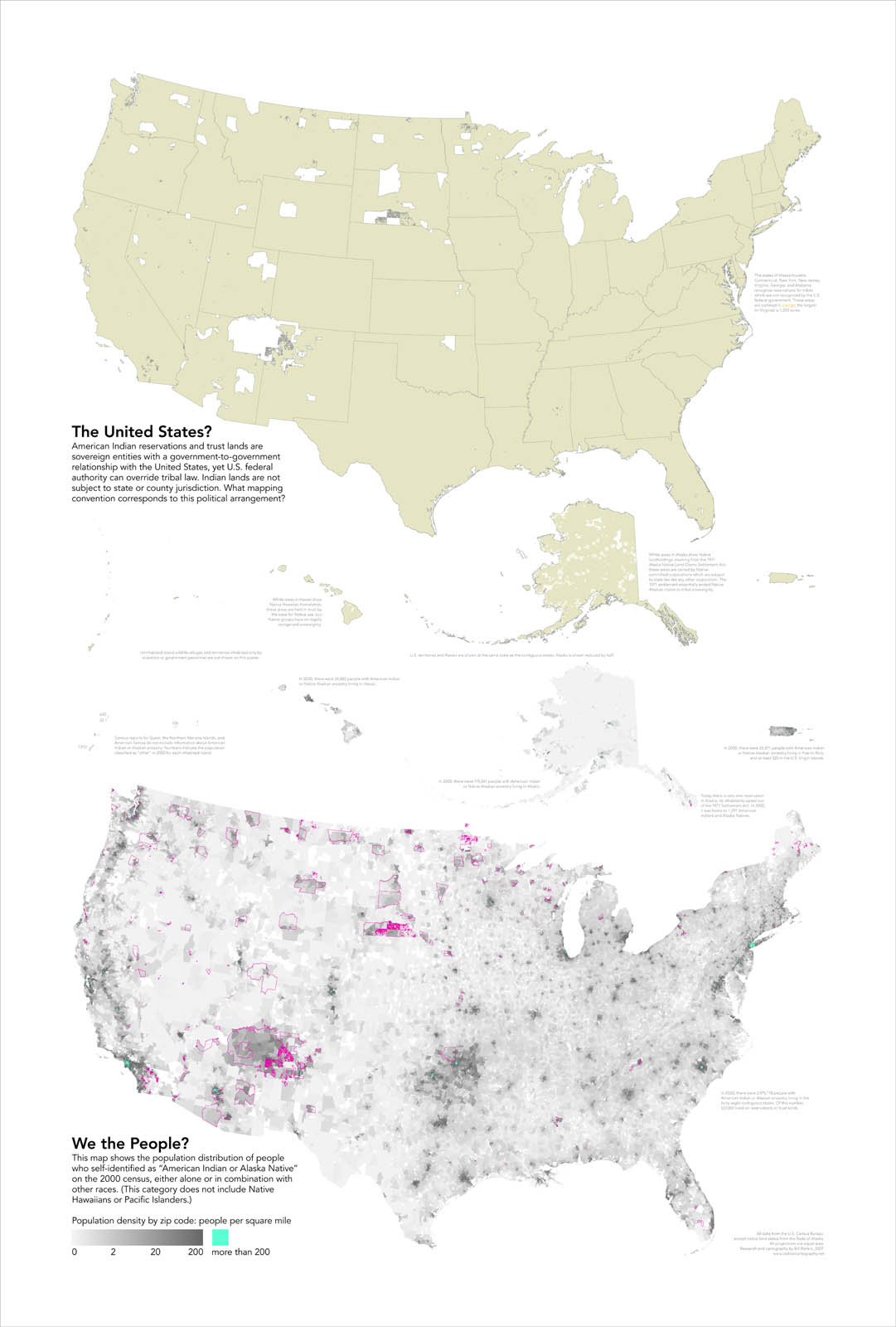 The White Areas Show Native American Reservations And Land Trusts The Second Map Shows The