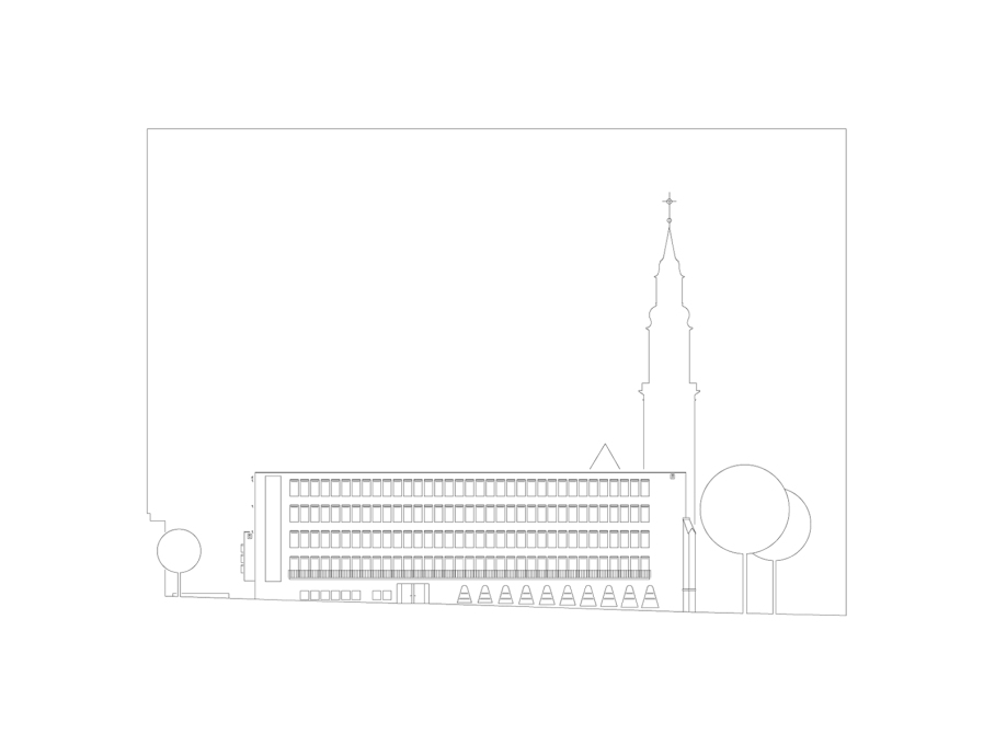 South-west elevation. (Drawing: Lederer Ragnarsdóttir Oei Architects)