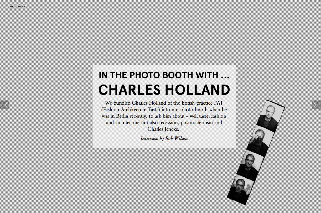 It's... Charles Holland: an interview in our Photo Booth