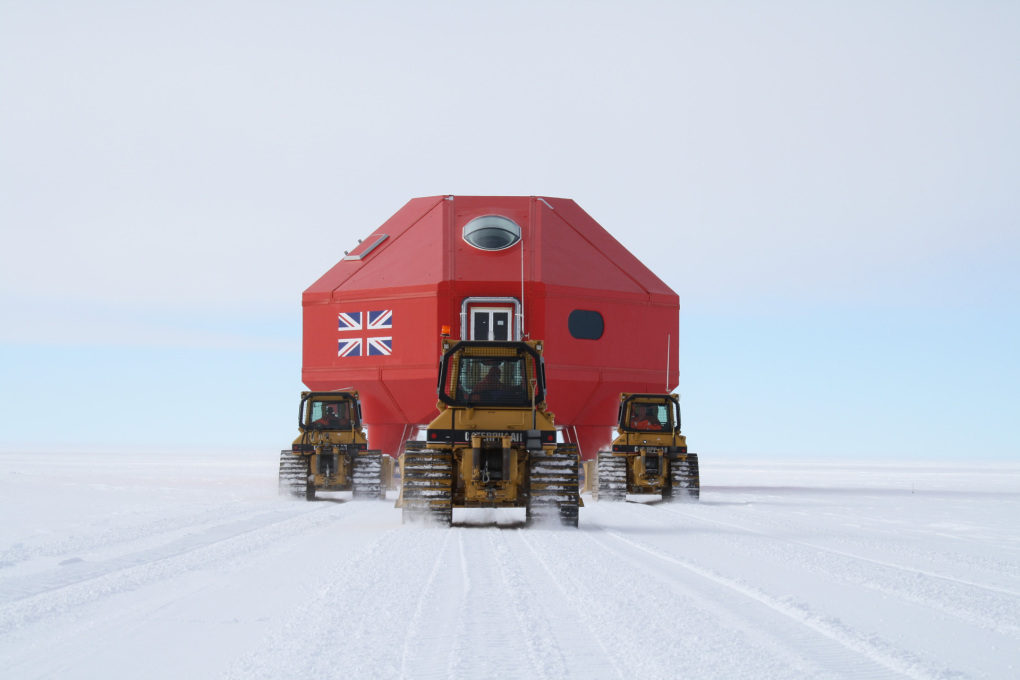 One of the modules of the Halley VI research station being towed to site. (Photo © BAS)