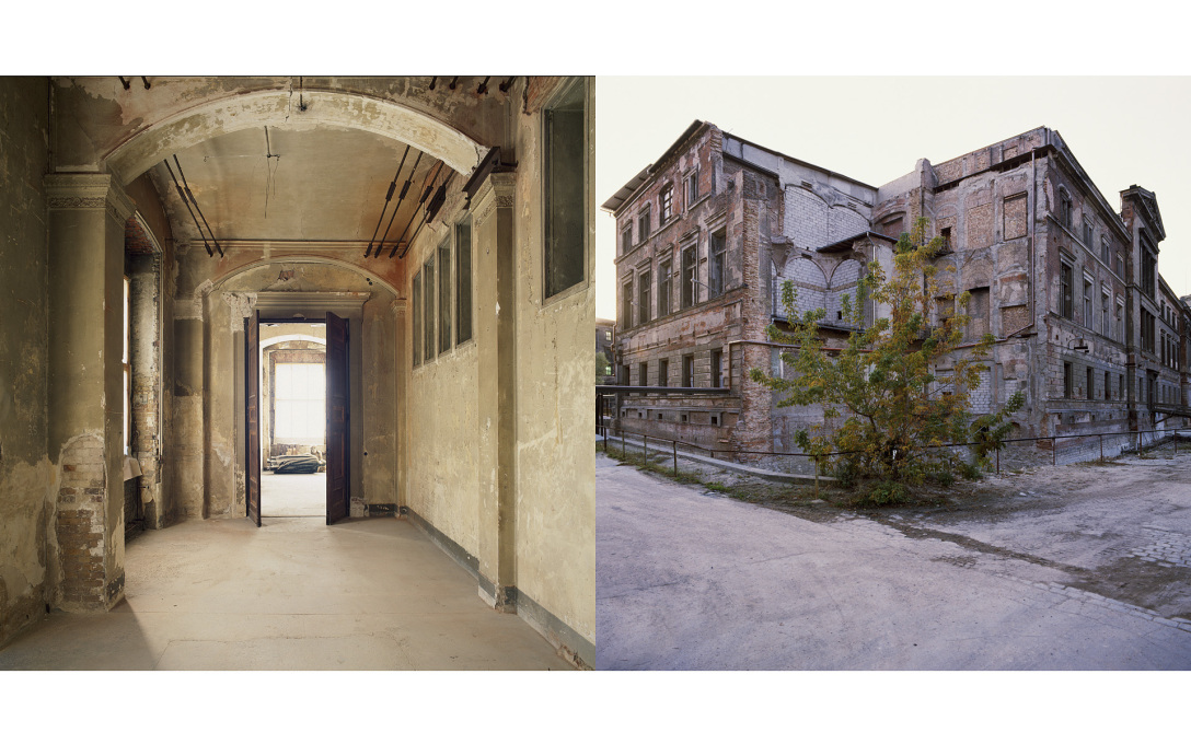The war-damaged and derelict New Museum in Mitte shot in 1992, long before renovation by David Chipperfield Architects and reopening in 2009.