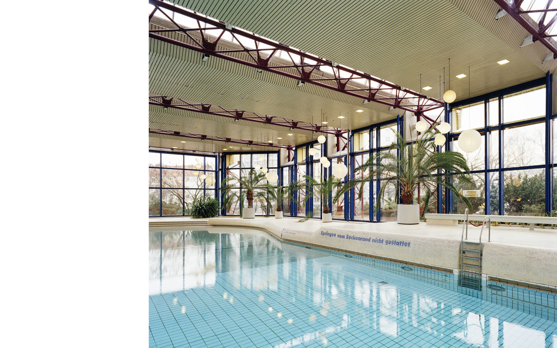 The swimming pool inside the SEZ in Volkspark Friedrichshain, before it closed 2001, and now due for demolition.