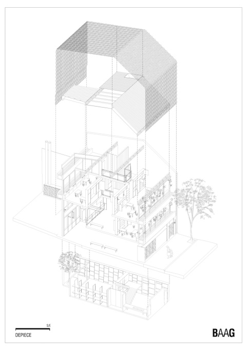 Exploded axonometric showing the different layers of the building. (Drawing courtesy BAAG)