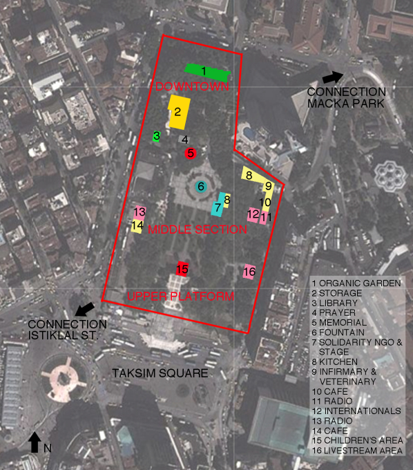 A plan of Gezi Park showing the different 'urban' districts. (Image: Merve Bedir)