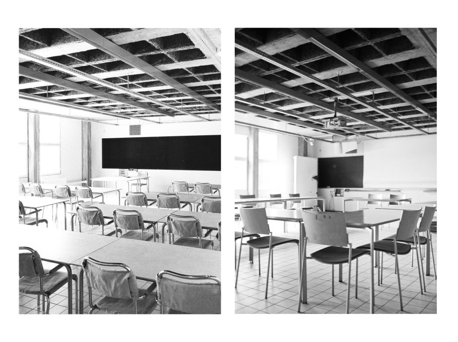 Seminar room with typical exposed ceiling installations, embedded acoustic panels and the later addition of a digital projector. (Photos: Sten Vilson, 1970 and Tove Freiij, 2015)