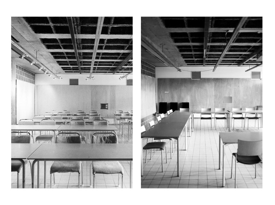 The steel tube and plywood chairs came off-the-shelf from a local manufacturer and became something of a trademark of the school. (Photos: Sten Vilson, 1970 and Tove Freiij, 2015)