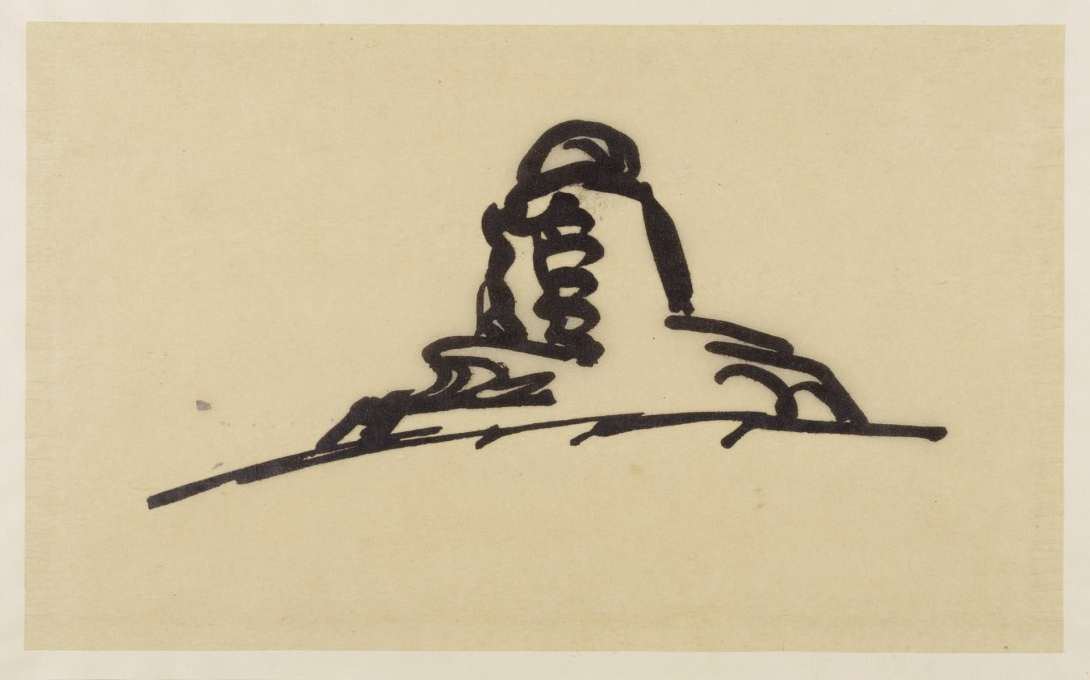 Erich Mendelsohn's quick worms-eye view of the Einstein Tower in Potsdam, 1920, ink on tracing paper. (Image: © Kunstbibliotek, Staatliche Museen zu Berlin/Dietmar Katz)