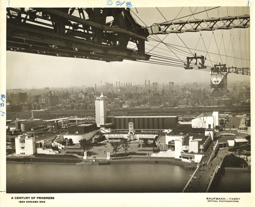 The Skyride view of the main entrance to the Hall of Science. (Image: Kaufmann & Fabry Co., ca. 1933-1934. Century of Progress records, Special Collections, University of Illinois at Chicago Library)