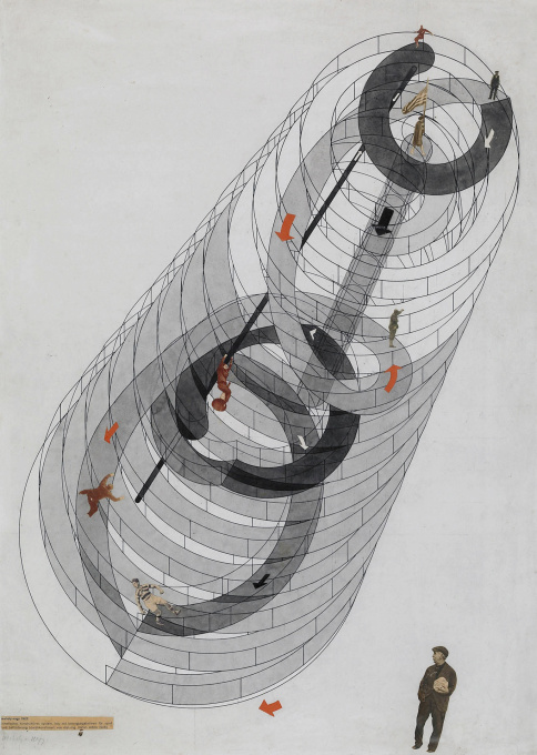 László Moholy-Nagy, Structure for a kinetic-constructivist system, showing trajectories of play and transport, 1922. (Theatre Research Collection, Cologne University, Image: © VG BILDKUNST, Bonn 2014)