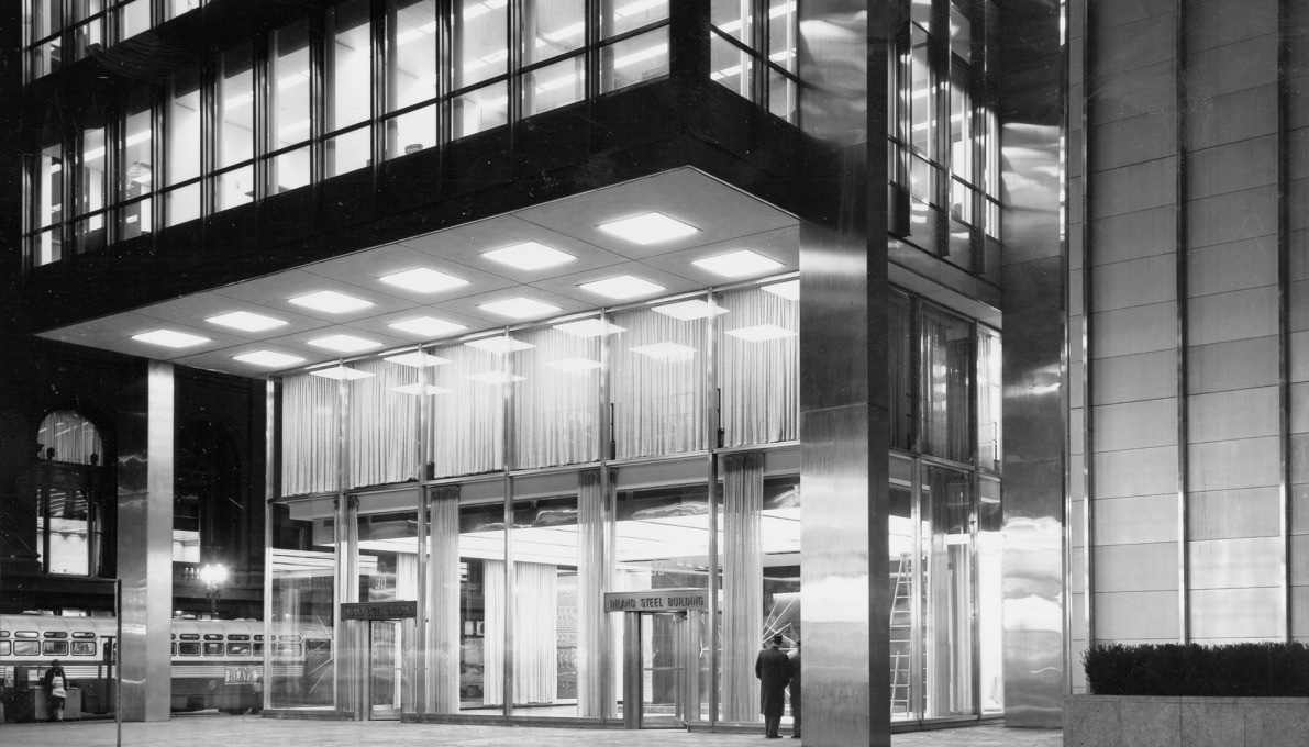 The entrance to the Inland Steel Building by SOM, completed in 1958. (Photo © Ezra Stoller ESTO)