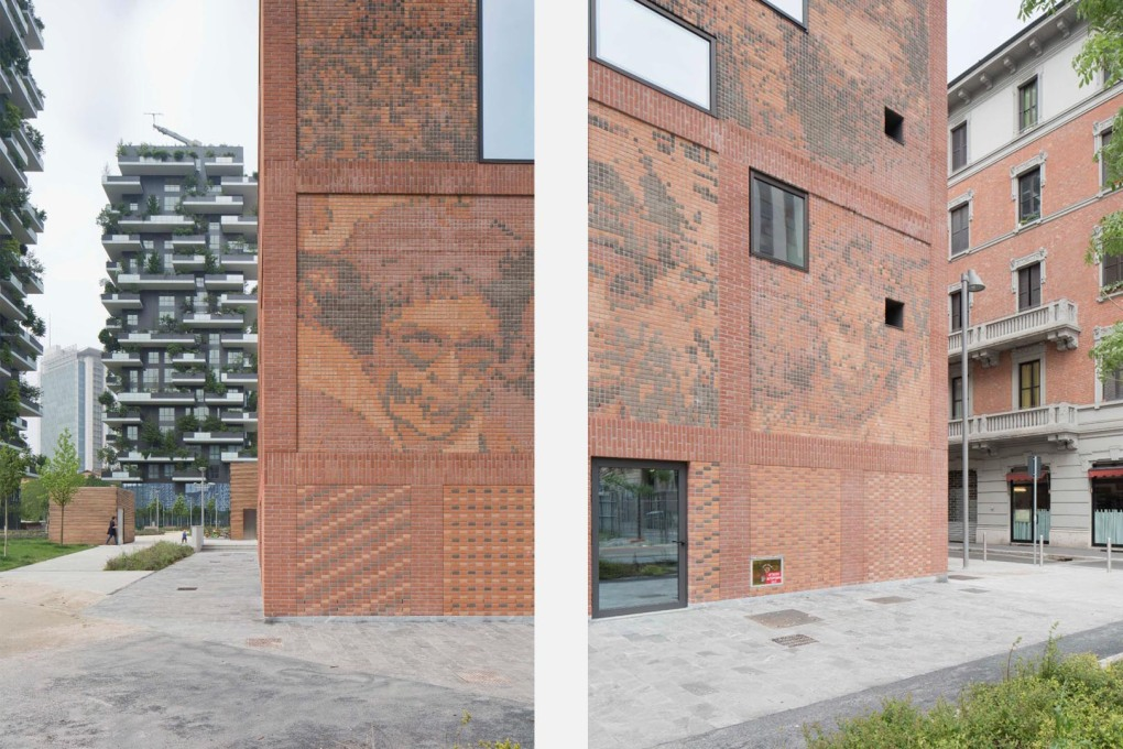 ...each picked out in six colours of brick – with every brick acting like a single pixel. (Photo: Stefano Graziani)