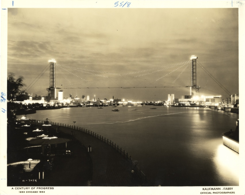 The Skyride at the Century of Progress International Exposition, 1933-1934. (Image: Kaufmann & Fabry Co., ca. 1933-1934. Century of Progress Records, Special Collections, University of Illinois at Chicago Library)