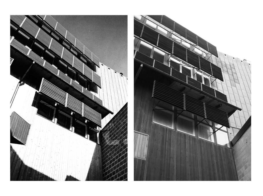 The building awash in late-modernist sunlight...and in a more overcast twenty-first century setting. (Photos: Sten Vilson, 1970 and Tove Freiij, 2015)