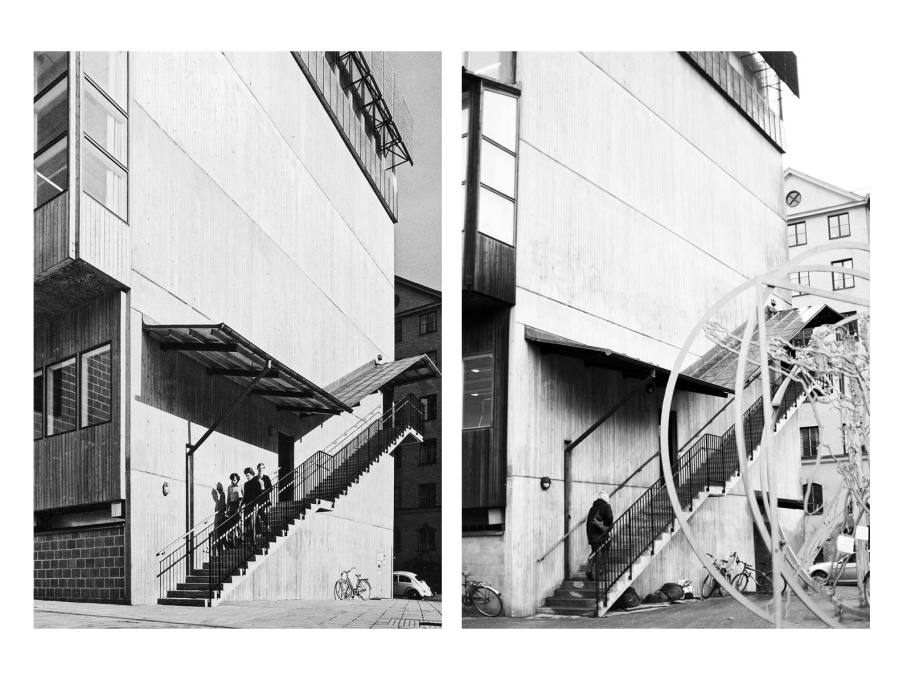 1970s students use the staircase of the south gable entrance; in 2015 the space under the stairs is routinely used by Stockholm's homeless population. (Photos: Sten Vilson, 1970 and Tove Freiij, 2015)