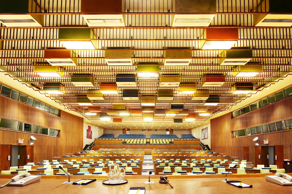 UN Trusteeship Council, I, New York, USA, 2008. Ash wood trim is designed to help the acoustics, in a space designed in 1951 as a gift of Denmark to the United Nations by architect and designer Finn Juhl.