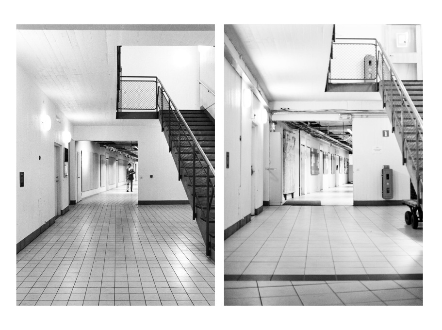 The 100mm square floor tiles were used as a pedagogical tool to learn standard measurements, although they were replaced in the early 2000s. (Photos: Sten Vilson, 1970 and Tove Freiij, 2015)