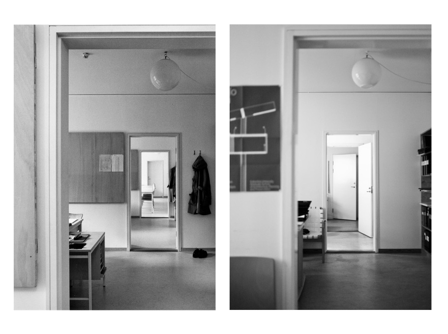 All of the staff offices faced the street and were of equal size regardless of position. (Photos: Sten Vilson, 1970 and Tove Freiij, 2015)