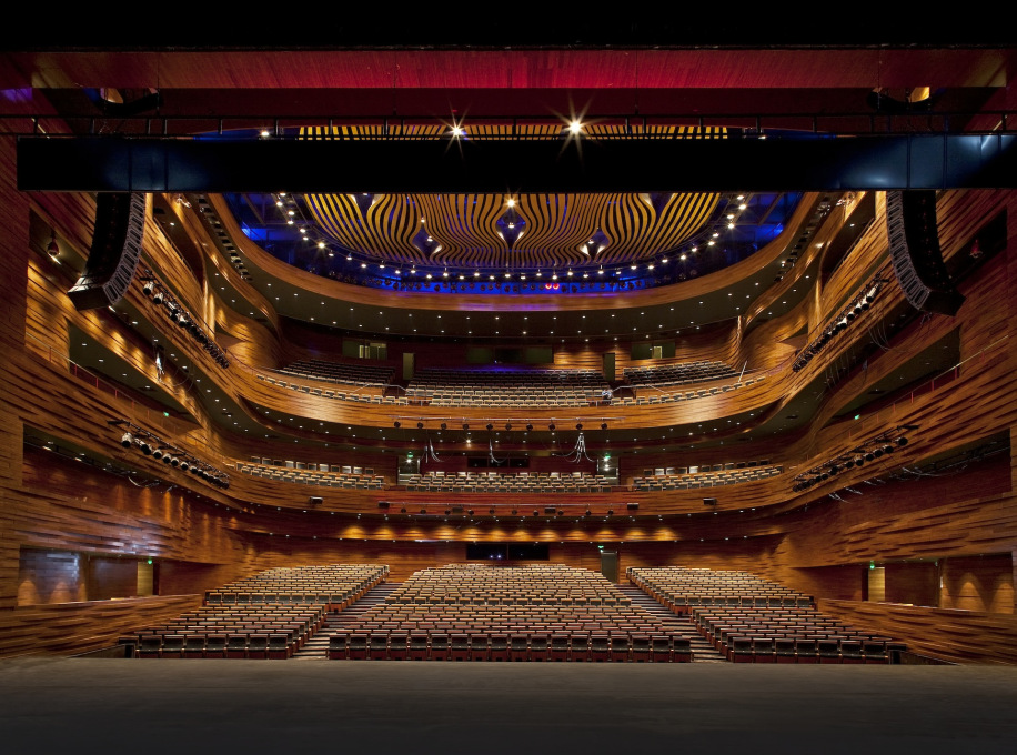The building has a grand theater and opera auditorium and another, smaller, more multi-purpose theater space...but no local orchestra. (Photo: Kari Palsila © PES-Architects)