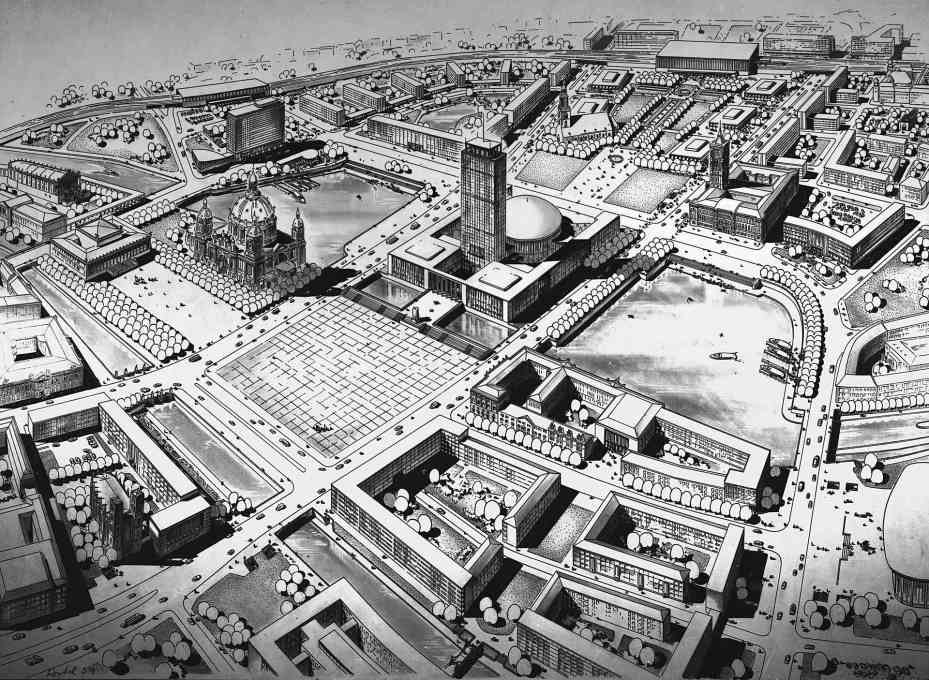 "Gerhard Kosel, Hanns Hopp, Hans Mertens: Marx-Engels-Forum with central building. Unrealised competition proposal for a ""socialist re-design of the center of the capital"", 1959. (Photo: Gisela Dutschmann, © Berlinische Galerie)"