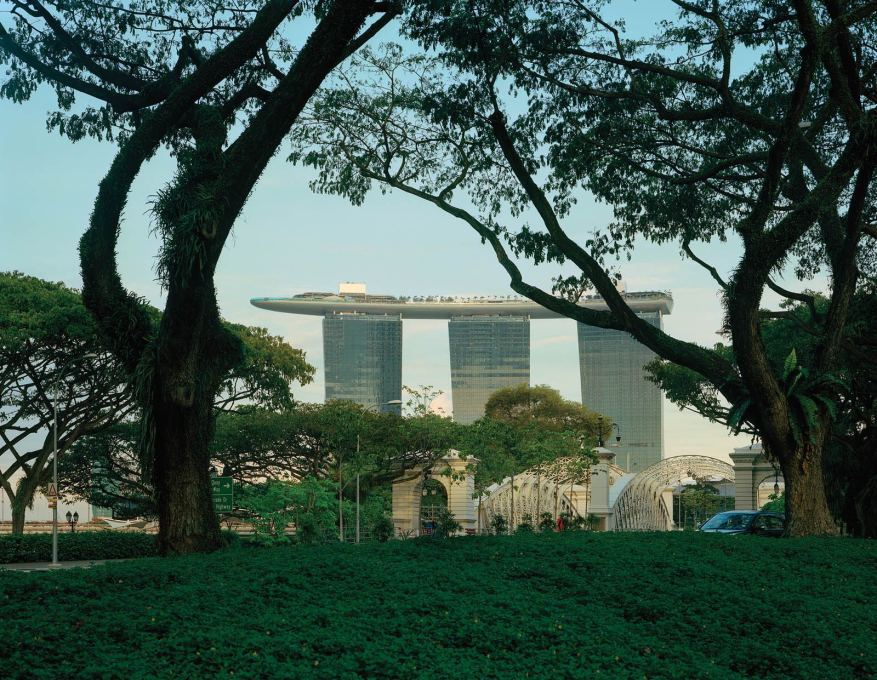 "Marina Bay Sands, Singapore: view of hotel with ""SkyPark"" above. (Photo: Timothy Hursley)"