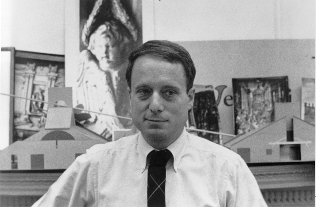 "Robert Venturi with Mother's House models behind him. Those models were acquired by MoMA at the time are currently on display at their summer show ""Endless House: intersections of art and architecture""."