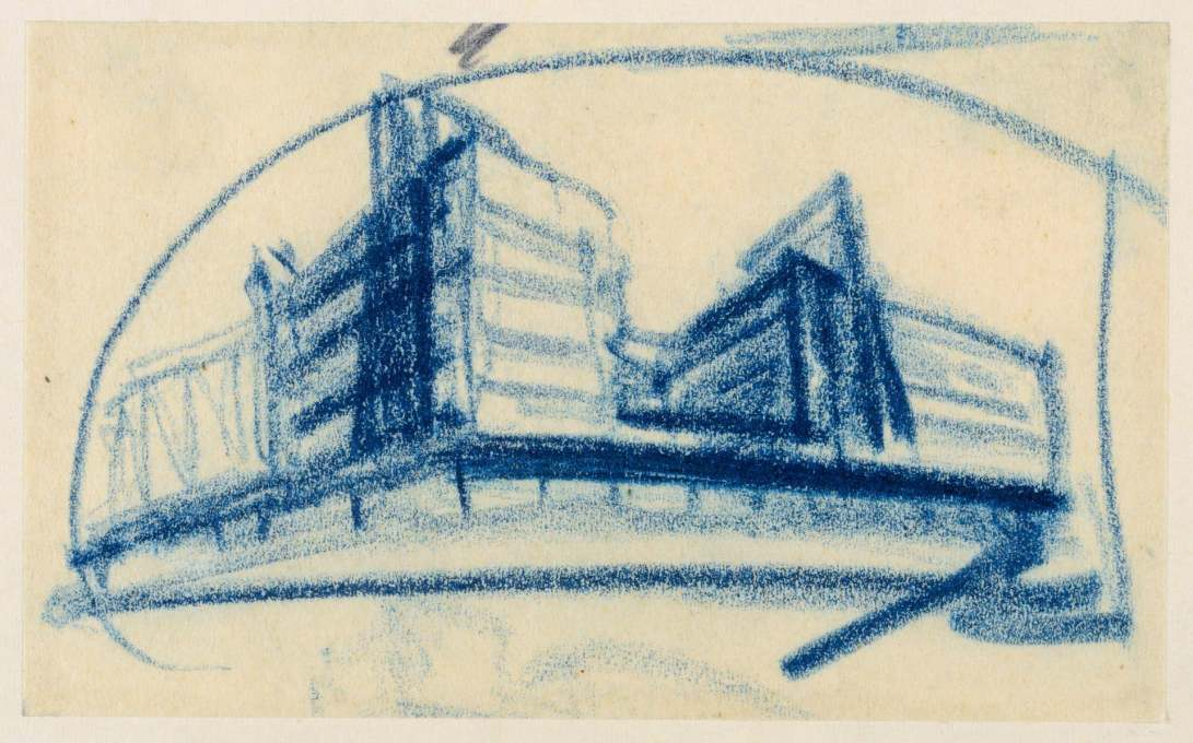 A perspective sketch for the Columbushaus, Potdamer Platz, Berlin, one of Mendelsohn's most high profile projects, blue pencil on paper. (Image: © Kunstbibliotek, Staatliche Museen zu Berlin/Dietmar Katz)