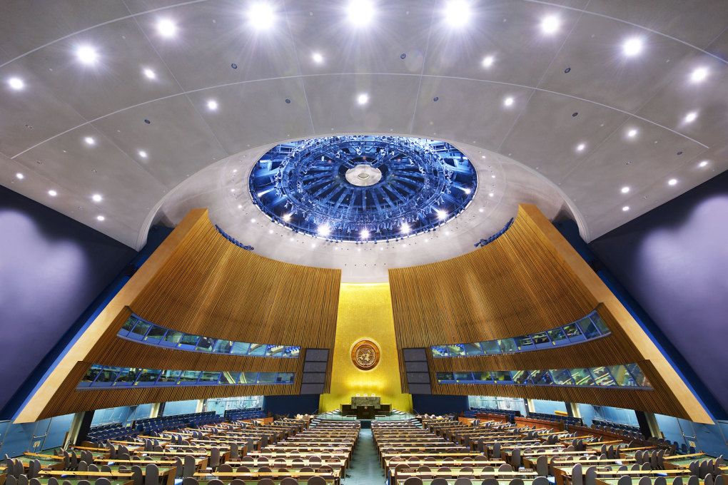 UN General Assembly I, New York, USA, 2008. Up to 1,800 people can be accommodated in this room.