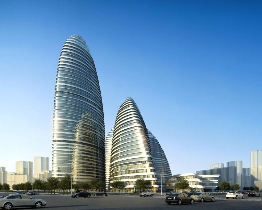 ...a CGI. A visualisation of the 200 metre-high Wangjing Soho, the sister building to the Galaxy, also by Zaha Hadid Architects, also in Beijing, due for completion in 2014. (Image courtesy Zaha Hadid Architects)