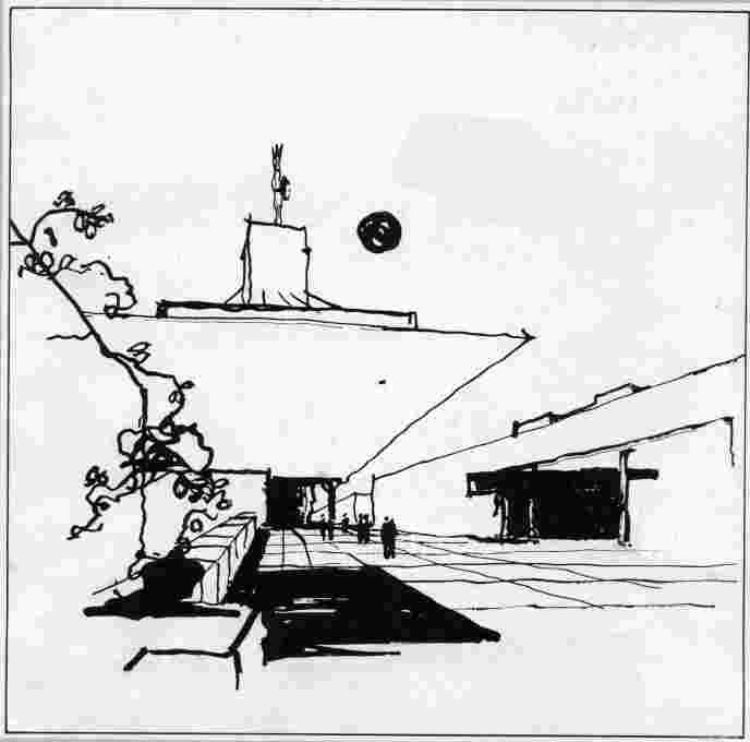 Sketch circa 1969 of the proposed national radio station building in Bratislava. (Image courtesy Institute of Construction and Architecture of the Slovak Academy of Sciences)