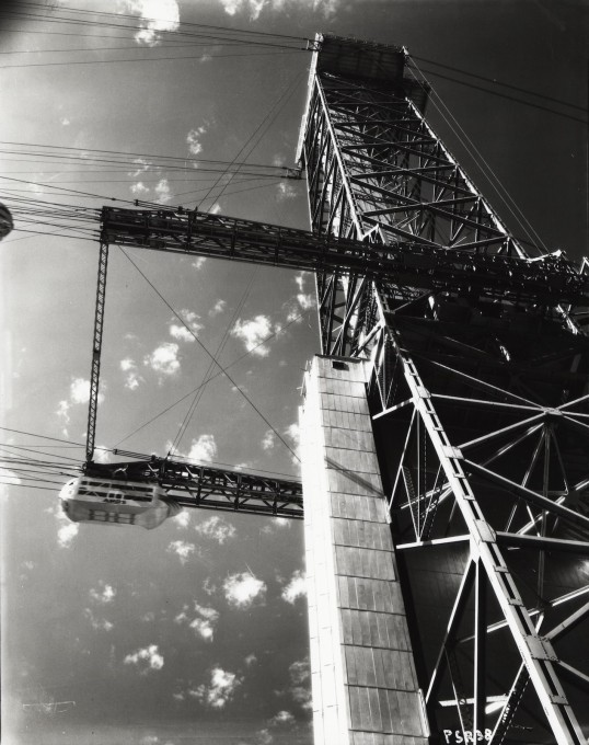 Ground level view of one of the Century of Progress Skyride towers, ca. 1933-1934. (Image: Century of Progress records, Special Collections, University of Illinois at Chicago Library)