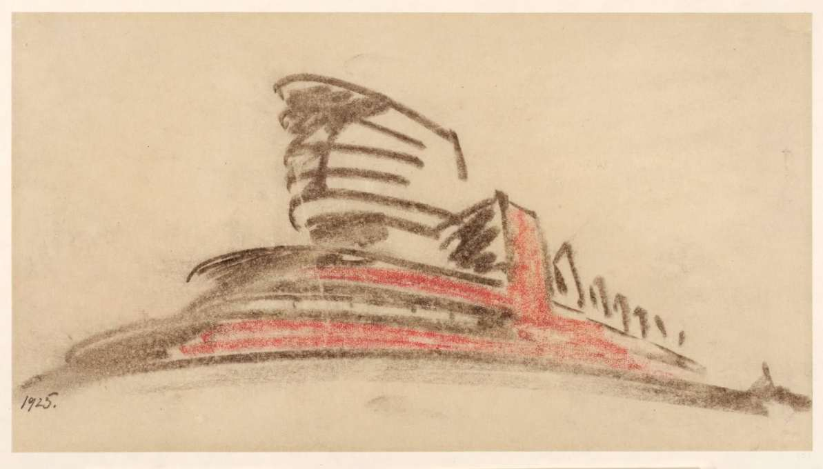 Erich Mendelsohn's 1925 sketch for his Red Flag textile factory in Leningrad, charcoal and red crayon. (Image: © Kunstbibliotek, Staatliche Museen zu Berlin/Dietmar Katz)