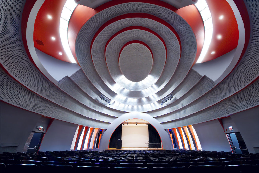 The New School I, New York, USA, 2008. The Art Deco Tishman Auditorium built in 1930. This university's graduates include director Woody Allen, the playwright Tennessee Williams and Israeli President Shimon Peres.