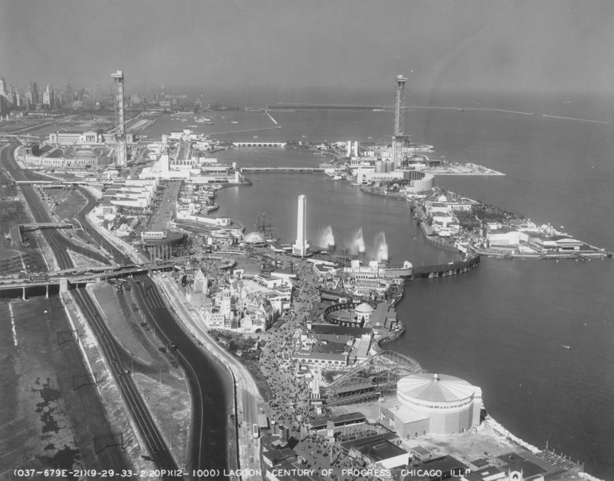 Northerly Island and Lagoon, Century of Progress Exposition, 1933. (Image: Chicago History Museum)