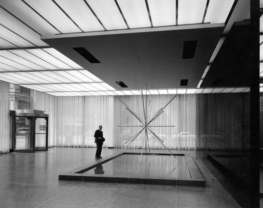 "The lobby of the Inland Steel Building with Richard Lippold's sculpture ""Radiant I"". (Photo © Hedrich Blessing)"