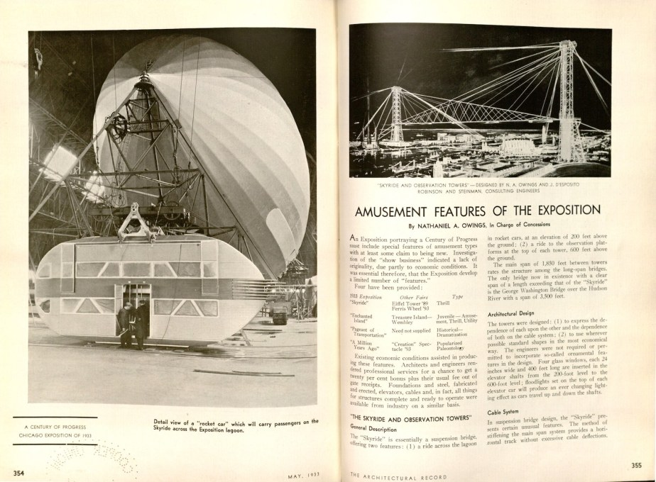 """Amusement Features of the Exposition."" (Image: Nathaniel Owings, Architectural Record, May 1933)"