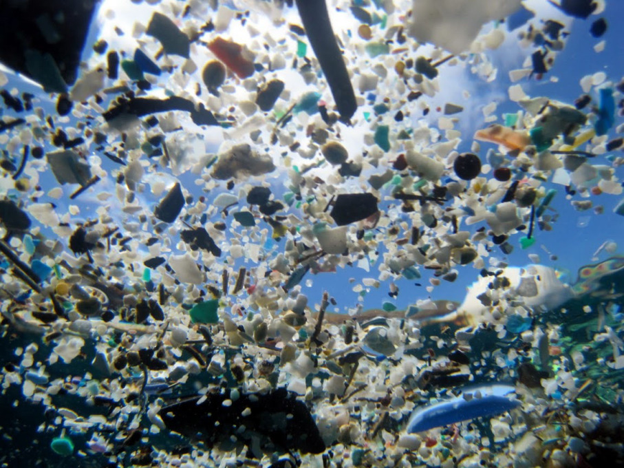 Out to Sea? Small broken pieces of plastic in the ocean. Photo: © NOAA/PIFSC