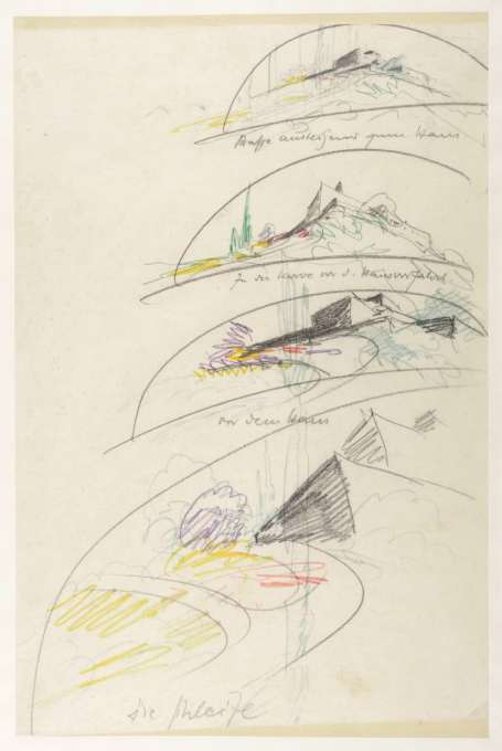 Sketch perpectives from 1934 for the Villa Weizmann, at Rehovoth, near Tel Aviv, designed for the future first President of Israel, Chaim Weizmann. Colour pencil on paper. (Image: © Kunstbibliotek, Staatliche Museen zu Berlin/Dietmar Katz)