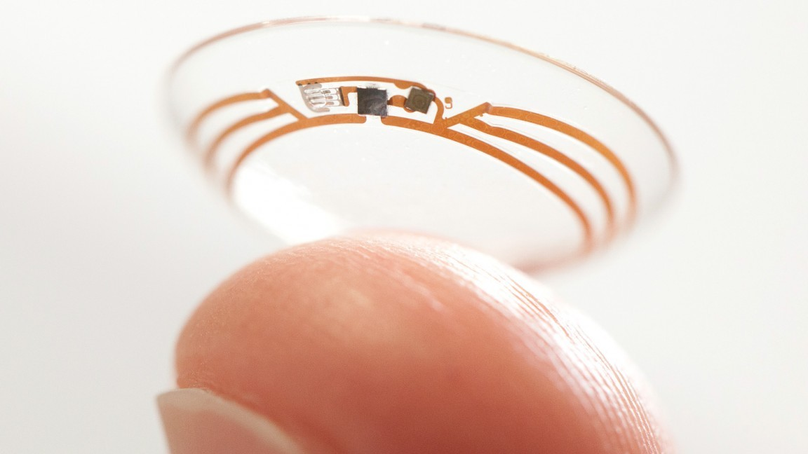 Cyborg technology is reaching the market. The new Google Contact Lens employs a wireless chip and a glucose sensor to track blood sugar levels. (Photo: Novartis)