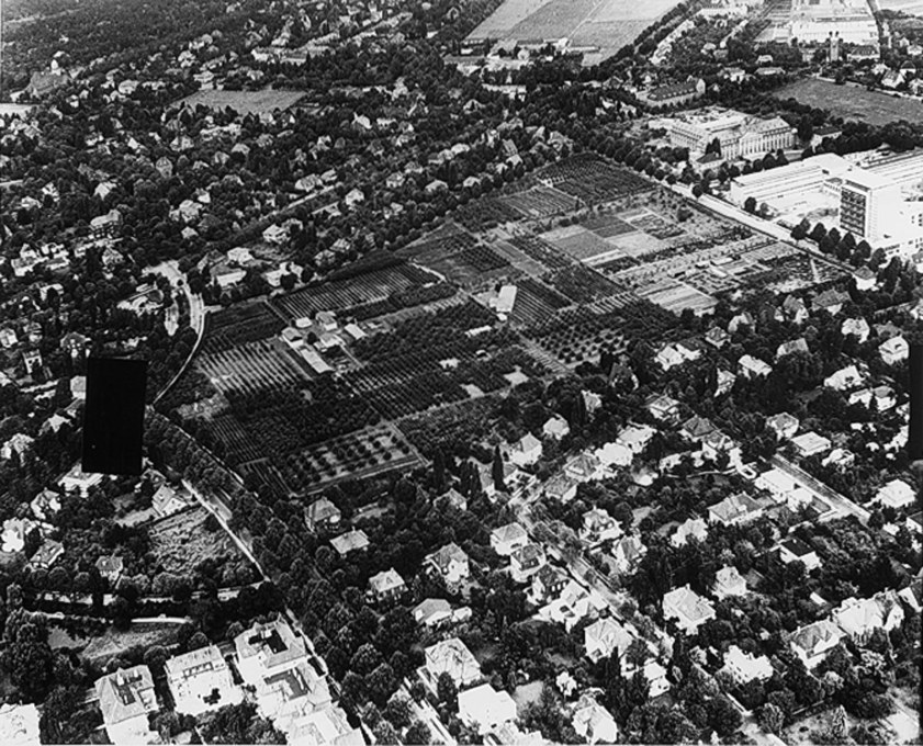 Aerial of the empty site in Zehlendorf around 1960 when it was mainly used for fruit cultivation. (Image © Archive Manfred Schiedhelm)