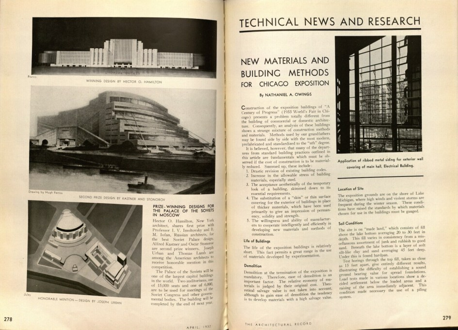 """New Materials and Building Methods for the Chicago Exposition."" (Image: Nathaniel Owings, Architectural Record, April 1932)"