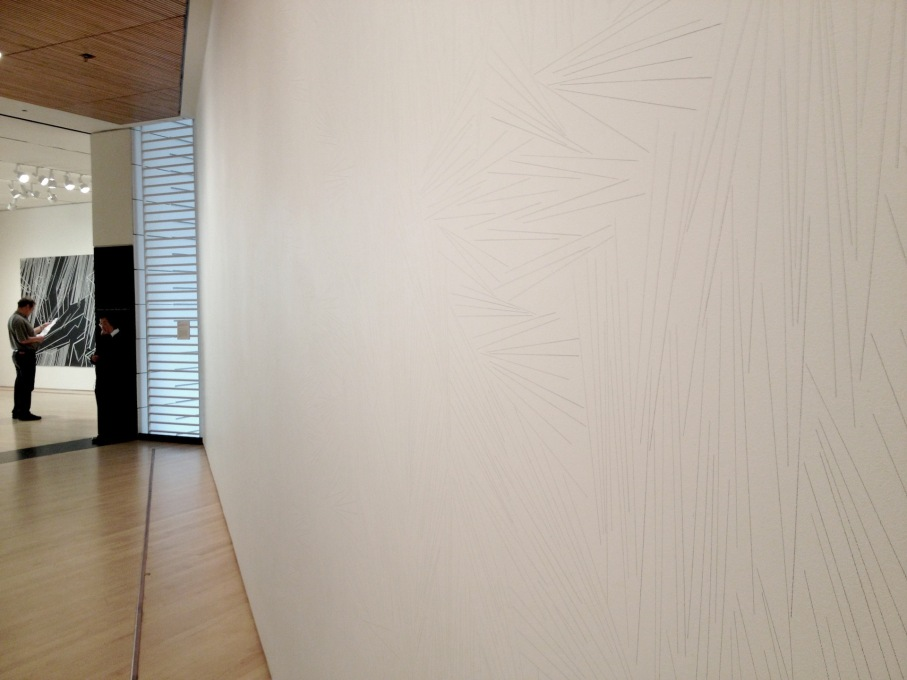 "Sol LeWitt, ""Wall Drawing #45,"" (installation view), graphite, 1970. (Photo: Elizabeth Feder)"