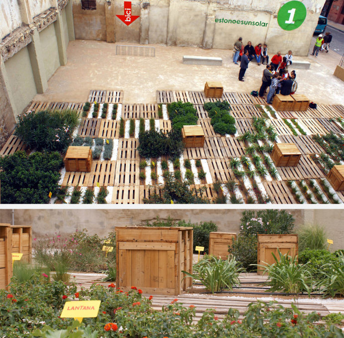 A public botanical garden on an empty plot in Zaragoza dating from 2009: 390 square metres transformed at a cost of 21,562 euros. (All photos and images: estonoesunsolar)