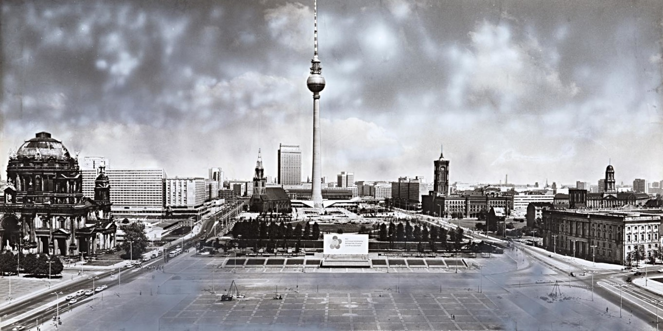 """These collages were meant to seduce..."": Dieter Urbach's photomontage view towards the TV tower at Alexanderplatz, 1972. (All images © Dieter Urbach/Berlinische Galerie)"
