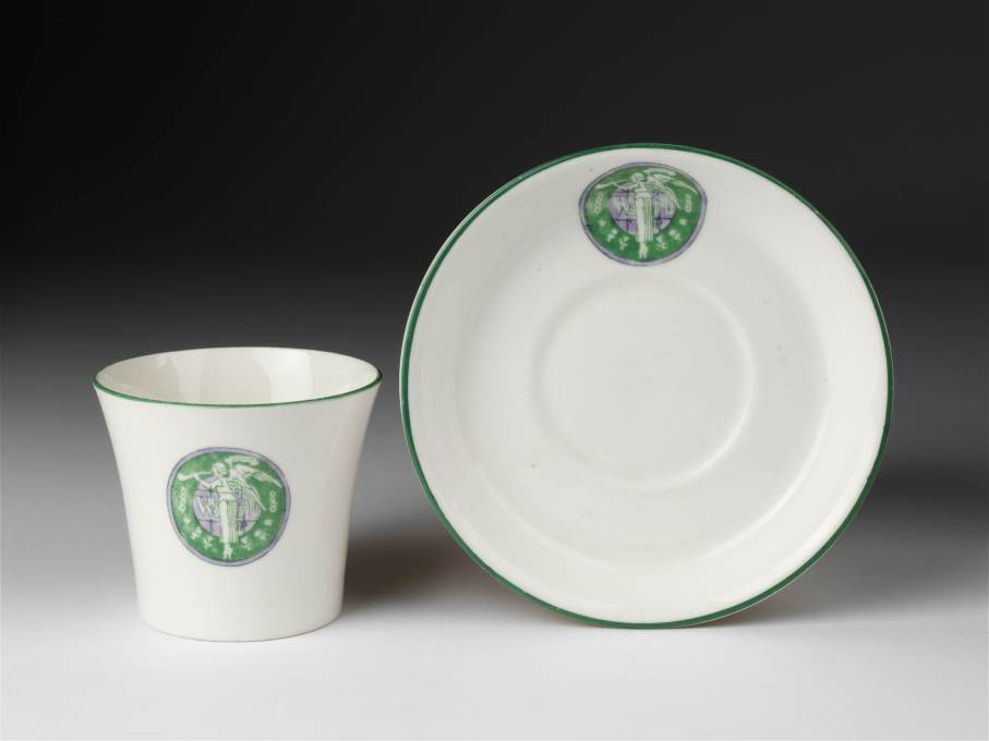 The Suffragette teacup by Sylvia Pankhurst, a leading member of the British Votes for Women movement, is the oldest object on display and bears the emblem of the Women's Social and Political Union. (Photo © Victoria and Albert Museum)