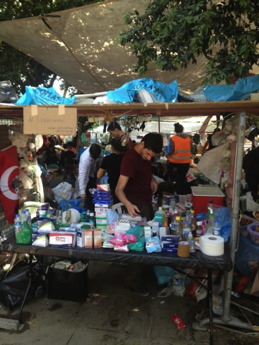 An infirmary stand in the centre of the park provided the protesters with medical essentials. (Photo: Merve Bedir)