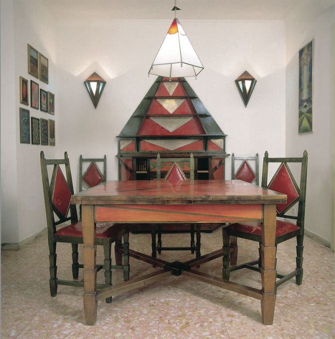 "Lesser-known and functional objects were also shown, such as ""Cimino Home Dining Room Set"" by Gerardo Dottori from the early 1930s. (Photo: Daniele Paparelli, courtesy Archivi Gerardo Dottori © Gerardo Dottori)"