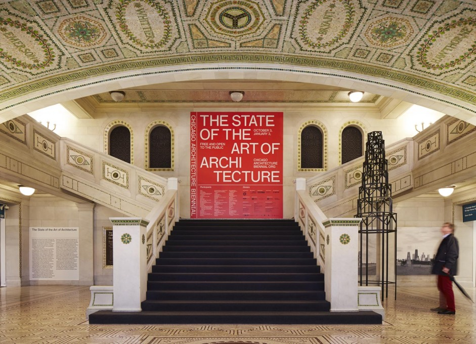 Entrance hall of the Chicago Cultural Center. (Photo: Steve Hall, courtesy Chicago Architecture Biennial)